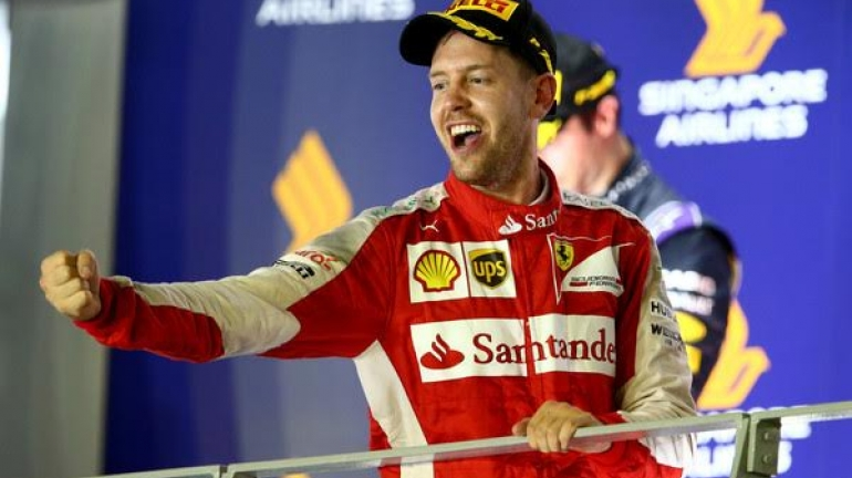 Sebastian Vettel Wins in Singapore but Intruder Walks on Track in Race